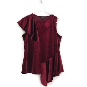 Halogen Burgundy Velvet Flutter Layer Top